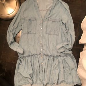 Zara size medium denim button down dress